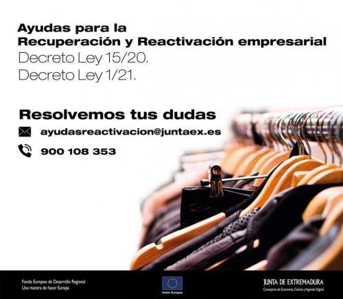 La Junta de Extremadura habilita un sistema de información de las ayudas para la reactivación empresarial